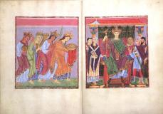 "Double page opening: Provinces Bringing Tribute (f.23v.) and Ruler Portrait of Otto III (f.24) Gospels of Otto III, c. 1000, each page 33.4 x 24.2 cm, ink, gold, paint, parchment (Munich, Bayerische Stattsbibliothek, Clm.4453) This Byzantine like painting is of one of the major important figures from history in this period. A Emperor descended from both German and Byzantine Lines, Otto III was the Holy Roman Emperor from 996 to 1002, two years after the completion of this artwork he died. This particular work is from the Gospel Book of Otto III, an illuminated Gospel book that contains Vulgate versions of the four gospels. In the work of art we see Otto III Enthroned around his advisers, Religious on the left, military on the right. This seems to be an attempt to show both religious dominance and military dominance. Also from the artwork we see that Otto III is represented much taller than any of this advisers even while seated, this hierarchy of scale shows his importance. The style of the work appears to be in the same style of the Byzantine works of art, drawing upon their popular heritage, of being flat and adorned with many colors. The Ottonian (918-1024) system of royal administration in Germany relied upon dynastic connections between the kings and the dukes, bishops, and counts. Otto and his successors attempted to keep the duchies of Germany and episcopacies in the hands of members of their family. Although German kingship remained technically ""elective,"" the Ottonian kings and the Salians who succeeded them (see entry for the year 1024) ensured the succession of their sons by having them 'elected' and crowned co-rulers with them. The result was a de facto hereditary monarchy. The Ottonians' control over northern Italy depended upon their physical presence, and Emperor Otto III (r. 983-1002), the son of a Byzantine princess, consciously imitated Roman imperial and Byzantine court customs and made Rome the center of his imperial administration. The Ottonians and their successors the Salians promoted a theocratic ideology of kingship modeled on Byzantium."