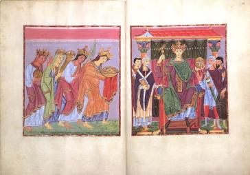 """Double page opening: Provinces Bringing Tribute (f.23v.) and Ruler Portrait of Otto III (f.24) Gospels of Otto III, c. 1000, each page 33.4 x 24.2 cm, ink, gold, paint, parchment (Munich, Bayerische Stattsbibliothek, Clm.4453) This Byzantine like painting is of one of the major important figures from history in this period. A Emperor descended from both German and Byzantine Lines, Otto III was the Holy Roman Emperor from 996 to 1002, two years after the completion of this artwork he died. This particular work is from the Gospel Book of Otto III, an illuminated Gospel book that contains Vulgate versions of the four gospels. In the work of art we see Otto III Enthroned around his advisers, Religious on the left, military on the right. This seems to be an attempt to show both religious dominance and military dominance. Also from the artwork we see that Otto III is represented much taller than any of this advisers even while seated, this hierarchy of scale shows his importance. The style of the work appears to be in the same style of the Byzantine works of art, drawing upon their popular heritage, of being flat and adorned with many colors. The Ottonian (918-1024) system of royal administration in Germany relied upon dynastic connections between the kings and the dukes, bishops, and counts. Otto and his successors attempted to keep the duchies of Germany and episcopacies in the hands of members of their family. Although German kingship remained technically """"elective,"""" the Ottonian kings and the Salians who succeeded them (see entry for the year 1024) ensured the succession of their sons by having them 'elected' and crowned co-rulers with them. The result was a de facto hereditary monarchy. The Ottonians' control over northern Italy depended upon their physical presence, and Emperor Otto III (r. 983-1002), the son of a Byzantine princess, consciously imitated Roman imperial and Byzantine court customs and made Rome the center of his imperial administration. The Ottonians"""