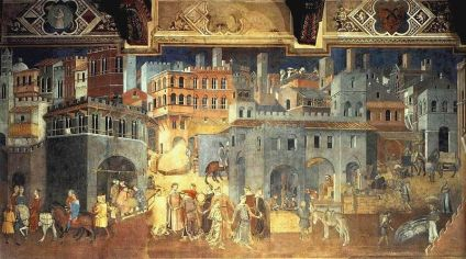 Ambrogio Lorenzetti - Effects of Good Government in the city (1338 - 1339). The Allegory of Good and Bad Government is a series of frescoes painted by Ambrogio Lorenzetti from around February 26, 1338 to May 29, 1339.The frescoes are painted in the Renaissance style, but with a Medieval touch to it. The paintings are located in the Sala dei Nove (Salon of Nine or Council Room) in the Palazzo Pubblico (or Town Hall) of the city of Siena, Italy. The series consists of six different scenes: Allegory of Good Government, Allegory of Bad Government, Effects of Bad Government in the City, Effects of Good Government in the City and Effects of Good Government in the Country.In the Good City we can see a panoramic view of a medieval city and its surroundings. The display itself, featuring a dome of a cathedral, black and white belfry, and buildings made of bricks, is much similar to Siena. Also, the fresco depicts all sorts of human activities within the city that are needed in order to have a well organized city. These include various manufactures, builders, and even leasure represented as dancing in the forefront of the fresco. On the right of the city, there is a panorama of a village, i.e. suburb. It depicts a series of human activities related to land and animal cultivation. Above the village there is a personification of Security, who holds a small gallows in one hand, and a scroll with text in another.