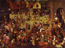 """The Fight Between Carnival and Lent! If Pieter Bruegel the Elder enjoyed a solid reputation during his lifetime, his paintings were """"even more sought after following his death"""" (in 1569), as Provost Morillon wrote to Cardinal de Granvelle as early as 1572. It is probably this constant demand which led the famous painter's oldest son, registered as a master in the Antwerp guild in 1584/85, to specialise in copying his father's works. The Battle of Carnival and Lent, the original of which is conserved in Vienna, is a very fine example of this. The subject matter can be found in medieval literature and plays. In the foreground, two opposing processions, the one to the left led by the replete figure of Carnival and the one to the right by the haggard figure of Lent, are about to confront each other in a burlesque parody of a joust. Here, on either side of the picture, are feasting and fasting, winter and spring (the trees to the left are leafless, those to the right have leaves), popular jollity and well-ordered charity, the ill-famed tavern and the church as the refuge of the pious soul. Whilst the father's work was not lacking in humour, the son's emphasises the encyclopaedic aspect: the many scenes accompanying the """"battle"""" are all ceremonies or customs attached to the rites of carnival and lent, which succeed each other from Epiphany until Easter. One intriguing element for which no satisfactory explanation has yet been found is the fool guiding a couple with a torch in broad daylight in the centre of the composition. The group is walking towards the right, but with its back turned both to Carnival and the viewer. The smooth pictorial handling, the richness of the chromatic range and the subtlety of the colours, as well as the extreme care given to each detail make Brueghel the Younger's painting much more than a simple copy. In addition to its own qualities, the painting also acts as a precious witness to the original state of its model: the children lying at the e"""