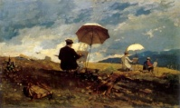 """Winslow Homer, Artists Sketching in the White Mountains, 1868. Here Homer documented the nineteenth century trend toward artists painting landscapes directly from nature rather than in their studios, """"en plein air."""" The expression """"Realism"""", when applied to literature of the 19th century, implies the attempt to depict contemporary life and society. The growth of realism is linked to the development of science (especially biology), history and the social sciences and to the growth of industrialism and commerce. The """"realist"""" tendency is not necessarily anti-romantic; romanticism in France often affirmed the common man and the natural setting, as in the peasant stories of George Sand, and concerned itself with historical forces and periods, as in the work of historian Jules Michelet. The novels of Stendhal, including The Red and the Black and The Charterhouse of Parma, address issues of their contemporary society while also using themes and characters derived from the romantic movement. Honoré de Balzac is the most prominent representative of 19th century realism in fiction. His La Comédie humaine, a vast collection of nearly 100 novels, was the most ambitious scheme ever devised by a writer of fiction—nothing less than a complete contemporary history of his countrymen. Realism also appears in the works of Alexandre Dumas, fils."""