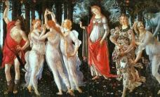 """Primavera or Springtime 1477 Sandro Botticelli. This wonderful and famous work of art by great Botticelli was painted for Lorenzo di Pierfrancesco de' Medici, a cousin of Lorenzo the Magnificent. The Medici was a very important Florentine banking family and later royal house of Tuscany. Critics are divided over the date of the work. Anyway it was certainly painted between 1477 and 1482.The Primavera (or the Allegory of Spring) is full of allegorical meanings, whose interpretation is difficult and still uncertain. Among the many theories proposed over the last decades, the one that seems to be the most corroborated is the interpretation of the painting as the realm of Venus, sung by the ancient poets and by Poliziano (famous scholar at the court of the Medici). On the right Zephyrus (the blue faced young man) chases Flora and fecundates her with a breath. Flora turns into Spring, the elegant woman scattering her flowers over the world. Venus, in the middle, represents the """"Humanitas"""" (the benevolence), which protects men. On the left the three Graces dance and Mercury dissipates the clouds. The Allegory of Spring is a very refined work of art. The naturalistic details of the meadow (there are hundreds of types of flowers), the skillful use of the color, the elegance of the figures and the poetry of the whole, have made this important and fascinating work celebrated all over the world."""