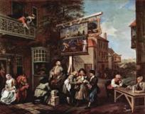 "William Hogarth. Canvassing for Votes. 1755. William Hogarth & Charles Grignion - Canvassing for Votes: Hogarth's second scene takes political corruption out of doors. The inn to the right is The Royal Oak, which was the headquarters of the Tory party. The inn has been embellished with signs satirizing their opponents, the most notable bearing the title of, ""Punch Candidate for Guzzeldown"", which shows a Whig candidate as Punch buying votes from his wheelbarrow of coins. Below the sign stands the local Tory candidate. Much like 'Punch', he is buying trinkets from the peddlers to further his amorous adventures with the admiring pair of girls on the balcony. At the Inn door a soldier spies on another attractive girl who is busy counting her 'take'. At the bay window two men stuff themselves on ridiculously large portions of food. The centre foreground is dominated by a closely knit trio of men. The man in the middle is covertly accepting bribes from both men at the same time. At the table to the left two elderly men debate the Battle of Portobello. The pensive, pipe-smoking man appears to have won his wager and takes in his money. In the background a Tory mob is attacking the Whig headquarters. Extreme violence has already commenced."