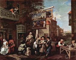 """William Hogarth. Canvassing for Votes. 1755. William Hogarth & Charles Grignion - Canvassing for Votes: Hogarth's second scene takes political corruption out of doors. The inn to the right is The Royal Oak, which was the headquarters of the Tory party. The inn has been embellished with signs satirizing their opponents, the most notable bearing the title of, """"Punch Candidate for Guzzeldown"""", which shows a Whig candidate as Punch buying votes from his wheelbarrow of coins. Below the sign stands the local Tory candidate. Much like 'Punch', he is buying trinkets from the peddlers to further his amorous adventures with the admiring pair of girls on the balcony. At the Inn door a soldier spies on another attractive girl who is busy counting her 'take'. At the bay window two men stuff themselves on ridiculously large portions of food. The centre foreground is dominated by a closely knit trio of men. The man in the middle is covertly accepting bribes from both men at the same time. At the table to the left two elderly men debate the Battle of Portobello. The pensive, pipe-smoking man appears to have won his wager and takes in his money. In the background a Tory mob is attacking the Whig headquarters. Extreme violence has already commenced."""