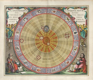 The Copernican Planisphere, illustrated in 1661 by Andreas Cellarius. The planisphere of Copernicus, or the system of the entire created universe according to the hypothesis of Copernicus exhibited in a planar view.