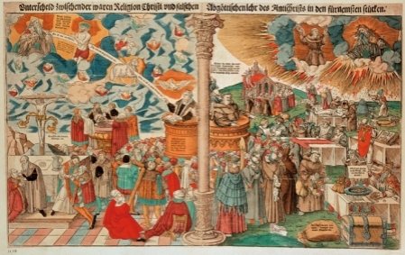 """Difference between the true religion of Christ and the false idolatrous doctrine of the Antichrist in the most vital questions-(Comparism between the Luther. doctrine and Catholic church practice). Woodcut, 1546, by Lucas Cranach the Younger (1515-1586). A woodcut by Lucas Cranach the Younger showing anti-Catholic propaganda. On the right, the corrupt pope sells indulgences to his debauched Catholic congregation, and the devil blows into a monk's ear as he preaches, while on the left, the devout Lutherans follow the """"true"""" path to God."""