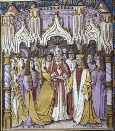 Wedding of Henry V and Katherine de Valois. At the time of their marriage, King Henry's army was rolling across Normandy and France with great success. He claimed the throne of France and engineered the marriage as a more peaceful way to achieve his ends. By all accounts, however, the king was quite taken with his lovely princess.