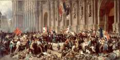 """""""Lamartine, before the Hôtel de Ville, Paris, rejects the Red Flag,"""" February 25, 1848. By Henri Felix Emmanuel Philippoteaux (1815–1884). The red flag represents terror, blood, and a """"party's republic,"""" Lamartine told the crowd. Leader of the provisional government that seized power after Louis-Philippe's fall, Alphonse de Lamartine (who also happened to be a leading Romantic poet) sought to pursue a moderate, liberal course after the February Revolution. When some revolutionaries proposed the red flag—long associated with social revolution—as France's new flag instead of the tricolor, Lamartine rejected the proposal. Yes, he conceded, Louis-Philippe had reintroduced the tricolor in 1830, but it did not represent that monarch's regime. Instead, Lamartine claimed, the tricolor was the flag of the original revolution of 1789 and therefore represented the French nation. """"Citizens, you have the power to commit violence against this government; you have the power to command it to change the banner of the nation and the name of France.... ...As for myself, never shall my hand sign such a decree! I will push away until death this blood flag, and you should repudiate it even more than I will! Because the red flag that you have brought back here has done nothing but being trailed around the Champ-de-Mars in the people's blood in 1791 and 1793, whereas the Tricolore flag went round the world along with the name, the glory and the liberty of the homeland!"""""""