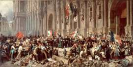 """Lamartine, before the Hôtel de Ville, Paris, rejects the Red Flag,"" February 25, 1848. By Henri Felix Emmanuel Philippoteaux (1815–1884). The red flag represents terror, blood, and a ""party's republic,"" Lamartine told the crowd. Leader of the provisional government that seized power after Louis-Philippe's fall, Alphonse de Lamartine (who also happened to be a leading Romantic poet) sought to pursue a moderate, liberal course after the February Revolution. When some revolutionaries proposed the red flag—long associated with social revolution—as France's new flag instead of the tricolor, Lamartine rejected the proposal. Yes, he conceded, Louis-Philippe had reintroduced the tricolor in 1830, but it did not represent that monarch's regime. Instead, Lamartine claimed, the tricolor was the flag of the original revolution of 1789 and therefore represented the French nation. ""Citizens, you have the power to commit violence against this government; you have the power to command it to change the banner of the nation and the name of France.... ...As for myself, never shall my hand sign such a decree! I will push away until death this blood flag, and you should repudiate it even more than I will! Because the red flag that you have brought back here has done nothing but being trailed around the Champ-de-Mars in the people's blood in 1791 and 1793, whereas the Tricolore flag went round the world along with the name, the glory and the liberty of the homeland!"""