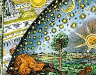 """The Flammarion woodcut. This Flammarion engraving, by an unknown artist, is called Empedocles Breaks through the Crystal Spheres. Its original caption read: """"A missionary of the Middle Ages tells that he had found the point where the sky and the Earth touch…"""" The widely circulated woodcut of a man poking his head through the firmament of a flat Earth to view the mechanics of the spheres, executed in the style of the 16th century cannot be traced to an earlier source than Camille Flammarion's L'Atmosphère: Météorologie Populaire (Paris, 1888, p. 163) [38]. The woodcut illustrates the statement in the text that a medieval missionary claimed that """"he reached the horizon where the Earth and the heavens met"""", an anecdote that may be traced back to Voltaire, but not to any known medieval source. In its original form, the woodcut included a decorative border that places it in the 19th century; in later publications, some claiming that the woodcut did, in fact, date to the 16th century, the border was removed. Flammarion, according to anecdotal evidence, had commissioned the woodcut himself. In any case, no source of the image earlier than Flammarion's book is known."""
