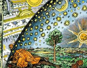 "The Flammarion woodcut. This Flammarion engraving, by an unknown artist, is called Empedocles Breaks through the Crystal Spheres. Its original caption read: ""A missionary of the Middle Ages tells that he had found the point where the sky and the Earth touch…"" The widely circulated woodcut of a man poking his head through the firmament of a flat Earth to view the mechanics of the spheres, executed in the style of the 16th century cannot be traced to an earlier source than Camille Flammarion's L'Atmosphère: Météorologie Populaire (Paris, 1888, p. 163) [38]. The woodcut illustrates the statement in the text that a medieval missionary claimed that ""he reached the horizon where the Earth and the heavens met"", an anecdote that may be traced back to Voltaire, but not to any known medieval source. In its original form, the woodcut included a decorative border that places it in the 19th century; in later publications, some claiming that the woodcut did, in fact, date to the 16th century, the border was removed. Flammarion, according to anecdotal evidence, had commissioned the woodcut himself. In any case, no source of the image earlier than Flammarion's book is known."
