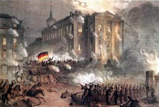 Barricade fights at Berlin Alexanderplatz in the night of March 18, 1848.