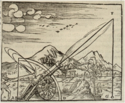 Gunner firing a cannon, 1561. The path of the projectile is shown according to Aristotelian physics. Since he believed that no body could undertake more than one motion at a time, the path had to consist of two separate motions in a straight line. From Problematum Astronomicorum by Daniele Santbech. (Basel, 1561).