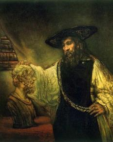 Aristotle with a Bust of Homer 1653 , Rembrandt (Rembrandt van Rijn) (Dutch, Leiden 1606–1669 Amsterdam). The founder of empirical philosophy, Aristotle is shown here as a living being, richly dressed, his gold chain unambiguously alluding to his world-dominating pupil and patron, Alexander the Great. The aging philosopher rests his hand on a marble bust of the father of Western literature, the blind poet, Homer, who was an archivist of human hopes and immortal deeds, and a personification of the creative spirit. Theirs is a silent, transgenerational dialogue—between life and art, between world and spirit—and thanks to Rembrandt, we, too, in contemplating them all, are drawn inexorably into the conversation.