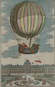 First manned hydrogen balloon flight. Jacques Alexandre Cesar Charles (1746-1823) and Marie-Noel Robert, French balloonists, making the first manned hydrogen balloon flight. They rode in the gondola balloon 'La Charliere' on 1 December 1783, ascending above the Tuileries Gardens, Paris, France.
