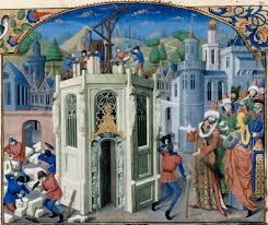 Sultan Omar Initiates the Reconstruction of the Temple of Jerusalem, from the 'Histoire de la conquete de Jerusalem' by William of Tyre (c.1130-85) c.1470 (vellum), French School, (15th century).France, Rouen, XVe siècle Artiste : Maître de l'Échevinage. Painting had made great progress in the naturalistic depiction of distance and volume during Medieval times. Moving from flat, decorative space to three dimensional illusions of space to better represent the world they saw around them. This propelled painting and sculpture into a new stratosphere and paved the way for the Italian Renaissance and Dutch realist paintings that had people literally fainting in front of them - dizzy and giddy with delight. Modern concepts such as momentum, inertia and (expression of) rates of change came to be put in place in the 17th century, thanks mainly to the efforts of Galileo, Newton and Leibniz. Yet three centuries earlier John Buridan was thinking in terms of these concepts and attempting to apply them to moving things. In examining the motion of moving bodies, Buridan sought to correct the Aristotelian understanding of how movement is maintained in them. Buridan's nine arguments on motion are presented and critiqued, and imagined counter-arguments, from an Aristotelian perspective, are offered.