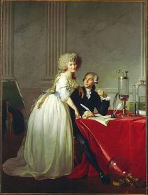 The Portrait of Antoine-Laurent Lavoisier and his wife is a double portrait of the French chemist Antoine Lavoisier and his wife and collaborator Marie-Anne Pierrette Paulze, commissioned from the French painter Jacques-Louis David in 1788 by Marie-Anne (who had been taught drawing by David). For years, this painting was listed simply as Portrait of M. Lavoisier in the Metropolitan Museum of Art files, neglecting the fact that the painter Jacques-Louis David placed Mme Lavoisier gloriously in the center of the canvas, staring directly at the viewer. The omission might have been due to the fact that Antoine Lavoisier is an 18th century scientific superstar. Before getting beheaded in the French Revolution, he was the first to correctly explain the chemistry behind burning, rusting and respiration. He also studied infectious disease in urban zones, named the element oxygen and helped develop the metric system. Meanwhile, Marie Anne Pierrette Paulze Lavoisier's fascinating life and contributions to science have often been neglected.