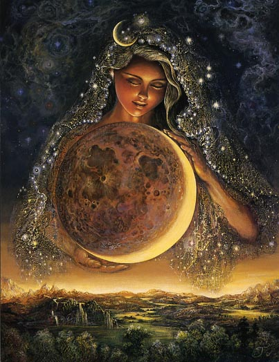 """Moon Goddess by Josephine Wall. Selene, ( Greek: """"Moon"""") Latin Luna, in Greek and Roman religion, the personification of the moon as a goddess. She was worshipped at the new and full moons. According to Hesiod's Theogony, her parents were the Titans Hyperion and Theia; her brother was Helios, the sun god (sometimes called her father); her sister was Eos (Dawn). In the Homeric Hymn to Selene, she bears the beautiful Pandeic to Zeus, while Alcman says they are the parents of Herse, the dew. She is often linked with Endymion, whom she loved and whom Zeus cast into eternal sleep in a cave on Mount Latmus; there, Selene visited him and became the mother of 50 daughters. In another story she was loved by Pan. By the 5th century bc Selene was sometimes identified with Artemis, or Phoebe, """"the bright one."""" She was usually represented as a woman with the moon (often in crescent form) on her head and driving a two-horse chariot. As Luna, she had temples at Rome on the Aventine and Palatine hills."""