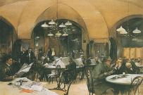 Café Griensteidl, printing by Reinhold Völkel, 1896. Café Griensteidl is a traditional Viennese café located at Michaelerplatz 2 across from St. Michael's Gate at the Hofburg Palace in the Innere Stadt first district of Vienna, Austria. The cafe was founded in 1847 by former pharmacist Heinrich Griensteidl. In the January 1897, the original building was demolished during the course of the renovation of Michaelerplatz. In 1900, the café was reopened and became a popular location among the Viennese coffeehouse culture. During the early twentieth century, the café was frequented by many artists, musicians, and writers.