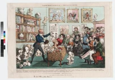 "Calves' Heads and Brains or a Phrenological Lecture 1826. In the 1800s, phrenology became popular with large numbers of people but soon became controversial within medical circles. Phrenologists believed that the shape and size of various areas of the brain (and therefore the overlying skull) determined personality. This print shows a caricature of a phrenologist who is lecturing to a crowded audience in room filled with plaster heads, books, skulls and pictures. Some of the audience are examining the shape of their own heads. The contents of the shelves include a bottle of Gall. This is a reference to Franz Gall (1758 –1828), a German physician and the founder of phrenology, who had lectured in London in 1823. He had worked with Johann Gaspar Spurzheim (1776-1832), whose plaster cast model head is in the bottom right of the print. The lecturer may be George Combe (1788-1858), an Edinburgh phrenologist who published Elements of Phrenology in 1824. The second edition of the book was attacked in the Edinburgh Review, September 1826. The print is signed by the 'artists' ""L. Bump"" and ""J. Lump"" – another way of mocking phrenologists. Paul Feyerabend demonstrated that in reality there are numerous factors that drive the scientific process of any individual. The irrational factors like emotions, passions, politics and individual ability do not allow for any model of an objective unchanging method. And in this Feyerabend is absolutely correct; the evidence falsifies any theory of an objective unchanging method. But Feyerabend takes this to mean that science itself cannot be a rational enterprise. His assertion is based purely on his assumption that Truth and Reason do not exist, and that science therefore has no superiority to any other belief system."