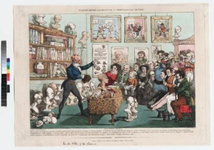 """Calves' Heads and Brains or a Phrenological Lecture 1826. In the 1800s, phrenology became popular with large numbers of people but soon became controversial within medical circles. Phrenologists believed that the shape and size of various areas of the brain (and therefore the overlying skull) determined personality. This print shows a caricature of a phrenologist who is lecturing to a crowded audience in room filled with plaster heads, books, skulls and pictures. Some of the audience are examining the shape of their own heads. The contents of the shelves include a bottle of Gall. This is a reference to Franz Gall (1758 –1828), a German physician and the founder of phrenology, who had lectured in London in 1823. He had worked with Johann Gaspar Spurzheim (1776-1832), whose plaster cast model head is in the bottom right of the print. The lecturer may be George Combe (1788-1858), an Edinburgh phrenologist who published Elements of Phrenology in 1824. The second edition of the book was attacked in the Edinburgh Review, September 1826. The print is signed by the 'artists' """"L. Bump"""" and """"J. Lump"""" – another way of mocking phrenologists. Paul Feyerabend demonstrated that in reality there are numerous factors that drive the scientific process of any individual. The irrational factors like emotions, passions, politics and individual ability do not allow for any model of an objective unchanging method. And in this Feyerabend is absolutely correct; the evidence falsifies any theory of an objective unchanging method. But Feyerabend takes this to mean that science itself cannot be a rational enterprise. His assertion is based purely on his assumption that Truth and Reason do not exist, and that science therefore has no superiority to any other belief system."""