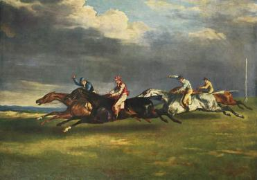 """Jean Louis Théodore Géricault's 1821 """"The Derby at Epsom""""! A historical example of """"Beliefs and Biases"""" in scientific methodology is the belief that the legs of a galloping horse are splayed at the point when none of the horse's legs touches the ground, to the point of this image being included in paintings by its supporters. However, the first stop-action pictures of a horse's gallop by Eadweard Muybridge showed this to be false, and that the legs are instead gathered together."""