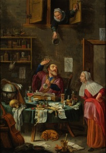 Trouble Comes to the Alchemist. Unknown Dutch School Painter , 17th -18th century. Although the title suggests this is an image of an alchemist, the scene is one of a physician conducting a uroscopy for a female patient. The confusion may be due to the similarity in objects used in both relative practices. These include a mortar and pestle, a variety of flasks and containers, a human skull, an hourglass, a celestial globe, and books. The overt hilarity of the old woman deliberately emptying her piss pot on the physician's head would have been instantly appreciated by any contemporary viewer of this work. Musical motifs, such as the cello in this painting, were traditionally a symbol of love and warning about sexual promiscuity. The poem on the table, attributed to Socrates, implies that the furious woman above is like Xanthippe, the Greek philosopher's famously shrewish wife. It reads: I knew well woman, it's no wonder, it would rain, after this thunder.