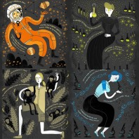 """Artistic contribution of Rachel Ignotofsky. Some of the """"firsts"""" which female scientists have added to everyday technology, mathematics, and science."""
