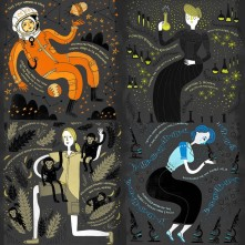 "Artistic contribution of Rachel Ignotofsky. Some of the ""firsts"" which female scientists have added to everyday technology, mathematics, and science."