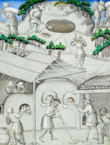 Workers, above, mining the pit of Memnon for sand for glassmaking and, below, a glassblower and other craftsmen in a glassmaking workshop. Illustrations for Mandeville's Travels (15th century).