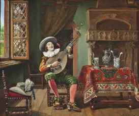 The Troubadour Marcel Brunery (French, 1893-1982). Marcel Brunery was born in Paris and came from a family of respected artists. He was the Grandson of Francesco Gonin (Turin 1808 - Giaverno 1889) who painted romantic subjects for the Royal Piedmont Court and the son of Francois Brunery (Turin 1849 -Paris 1926). Although the Brunery family established themselves as artists in Paris and London they never forgot their Italian origins. Marcel painted cardinal and historical scenes. His style (like many other artists of this genre) was to make fun of the Lords of the Church and he delighted in portraying them in domestic dramas. Brunery's paintings showed that the clergy was no different from the humble flock they presumed to lead and that they were victims of the same mundane trials and tribulations of everyday life. Brunery's canvases are lavishly painted in a masterly way, accounting for his popularity, which has remained constant over the years.