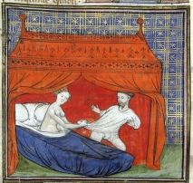 A canopied mediaeval bed - this picture dates from about 1400, and shows Queen Guinevere dragging Sir Lancelot into her bed. Library, Book, France Paris.