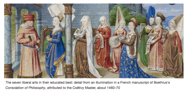 From left: grammar, rhetoric, logic, music, geometry, arithmetic, and astronomy Attributed to the Coëtivy Master French, Paris, about 1460–1470 Coëtivy Master, French, active about 1450 - 1485, Philosophy Presenting the Seven Liberal Arts to Boethius.