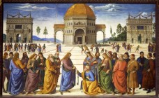 """Pietro Perugino, Christ Handing the Keys of the Kingdom to St. Peter, Sistine Chapel, Vatican, Rome, Italy, 1481-83. Perhaps the most famous painting in the Sistine Chapel before Michelangelo's time was one by fresco by Pietro Perugino called """"Christ Handing the Keys of the Kingdom to Saint Peter""""."""