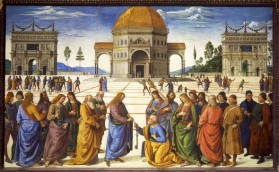 "Pietro Perugino, Christ Handing the Keys of the Kingdom to St. Peter, Sistine Chapel, Vatican, Rome, Italy, 1481-83. Perhaps the most famous painting in the Sistine Chapel before Michelangelo's time was one by fresco by Pietro Perugino called ""Christ Handing the Keys of the Kingdom to Saint Peter""."