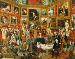 The Tribuna of the Uffizi (1772–1778) by Johann Zoffany is a painting of the north-east section of the Tribuna room in the Uffizi in Florence, Italy. The painting has become one of the most celebrated images of eighteenth-century taste. Zoffany shows a group of connoisseurs and members of the nobility admiring works of art in the Tribuna, the principal room of the Uffizi in Florence, which was the most famous gallery in the world during the eighteenth century. The Tribuna had been built by Francesco de' Medici in 1585-9 to a design by Bernardo Buontalenti as a showcase for the most precious items in the Medici collection. Although Zoffany has depicted the architectural features of the Tribuna with a fair degree of accuracy, he has rearranged the works of art and in some cases altered their scale. In fact, he has also incorporated a number of paintings from that part of the Medici collection housed in the Palazzo Pitti, as well as including several additional pieces of sculpture. The painter thus successfully gives the gallery a more crowded and undoubtedly richer appearance than it had during the eighteenth century, and by this means has facilitated his rendering of the complicated sightlines of the room and the perspectival inlaid marble decoration of the floor. The setting is therefore somewhat idealised, but it remains a perfectly accurate representation of the significance of the Tribuna for eighteenth-century connoisseurship, with its emphasis on the antique, the High Renaissance, the Bolognese school and Rubens. Zoffany painted the picture in Florence expressly for Queen Charlotte, beginning in 1772. Much of the composition was completed the following year, but the artist continued working on it intermittently until late in 1777, making changes some of which are now only visible by X-ray. Notable among these changes is the inclusion of a self portrait on the left of the composition, where the artist has shown himself peering round the unframed canvas of the Vi