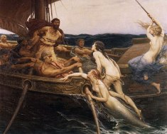 Ulysses and the Sirens by Herbert James Draper, 1864-1920. c. 1909. The depiction of the sirens is an interesting one as Homer's account was rather vague and artists usually drew them as bird like figures with female heads. Draper, however, depicts them as mermaids and young women. We see a boat full of muscly sailors apparently terrified by three nude girls. As they climb aboard, an act of assertive sexuality, the sirens change from mermaids into women. The theme of the nymph and the temptress became something of an obsession in Draper's work. This work was done later in Draper's career, when he was a married man, and contrasts dramatically with an earlier work by him The Sea Maiden which shows the sailors as the aggressors. The picture contains many contrasts; the sea and the air, the masculine and the feminine, the dark and the light, hard and soft. These contrasts are enhanced by the colours used by Draper with the sailors being dark and weather beaten, the sirens are pale and untouched by the sun like an English Edwardian lady.