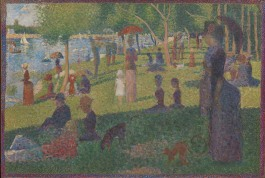 "In his best-known and largest painting, Georges Seurat depicted people relaxing in a suburban park on an island in the Seine River called La Grande Jatte. The artist worked on the painting in several campaigns, beginning in 1884 with a layer of small horizontal brushstrokes of complementary colors. He later added small dots, also in complementary colors, that appear as solid and luminous forms when seen from a distance. Seurat's use of this highly systematic and ""scientific"" technique, subsequently called Pointillism, distinguished his art from the more intuitive approach to painting used by the Impressionists. Although Seurat embraced the subject matter of modern life preferred by artists such as Claude Monet and Pierre-Auguste Renoir, he went beyond their concern for capturing the accidental and instantaneous qualities of light in nature. Seurat sought to evoke permanence by recalling the art of the past, especially Egyptian and Greek sculpture and even Italian Renaissance frescoes. As he explained to the French poet Gustave Kahn, ""The Panathenaeans of Phidias formed a procession. I want to make modern people, in their essential traits, move about as they do on those friezes, and place them on canvases organized by harmonies of color."" Some contemporary critics, however, found his figures to be less a nod to earlier art history than a commentary on the posturing and artificiality of modern Parisian society. Seurat made the final changes to La Grande Jatte in 1889. He restretched the canvas in order to add a painted border of red, orange, and blue dots that provides a visual transition between the interior of the painting and his specially designed white frame."