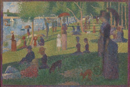"""In his best-known and largest painting, Georges Seurat depicted people relaxing in a suburban park on an island in the Seine River called La Grande Jatte. The artist worked on the painting in several campaigns, beginning in 1884 with a layer of small horizontal brushstrokes of complementary colors. He later added small dots, also in complementary colors, that appear as solid and luminous forms when seen from a distance. Seurat's use of this highly systematic and """"scientific"""" technique, subsequently called Pointillism, distinguished his art from the more intuitive approach to painting used by the Impressionists. Although Seurat embraced the subject matter of modern life preferred by artists such as Claude Monet and Pierre-Auguste Renoir, he went beyond their concern for capturing the accidental and instantaneous qualities of light in nature. Seurat sought to evoke permanence by recalling the art of the past, especially Egyptian and Greek sculpture and even Italian Renaissance frescoes. As he explained to the French poet Gustave Kahn, """"The Panathenaeans of Phidias formed a procession. I want to make modern people, in their essential traits, move about as they do on those friezes, and place them on canvases organized by harmonies of color."""" Some contemporary critics, however, found his figures to be less a nod to earlier art history than a commentary on the posturing and artificiality of modern Parisian society. Seurat made the final changes to La Grande Jatte in 1889. He restretched the canvas in order to add a painted border of red, orange, and blue dots that provides a visual transition between the interior of the painting and his specially designed white frame."""