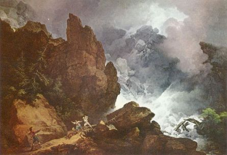 Philipp Jakob Loutherbourg, An Avalanche in the Alps, 1803. The Alps were a familiar landscape for generations of British travellers, but it was only in the later part of the eighteenth century that their rugged and immense qualities were appreciated for their sublime associations. Here de Loutherbourg, who specialised in such landscapes, adds human drama to the avalanche's awesome progress via the terrified people (foreground) soon to be overwhelmed by nature's power. De Loutherbourg's exploration of sublime effect was assisted by his work as a theatre set designer. He also created the 'Eidophusikon', a miniature theatre where landscapes were animated and accompanied by music and sound effects.