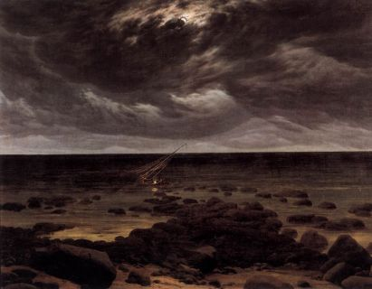 """Seashore by Moonlight (1835–36) by Caspar David Friedrich (5 September 1774 – 7 May 1840). He was a 19th-century German Romantic landscape painter, generally considered the most important German artist of his generation. Caspar David Friedrich was a 19th century German romantic painter, considered by many critics to be one of the finest representatives of the movement. He studied at the Academy in Copenhagen (1794-98), and subsequently settled in Dresden, often traveling to other parts of Germany. Friedrich's landscapes are based entirely on those of northern Germany and are beautiful renderings of trees, hills, harbors, morning mists, and other light effects based on a close observation of nature. Some of Friedrich's best-known paintings are expressions of a religious mysticism. In 1808 he exhibited one of his most controversial paintings, The Cross in the Mountains (Gemaldegalerie, Dresden), in which - for the first time in Christian art - an altarpiece was conceived in terms of a pure landscape. The cross, viewed obliquely from behind, is an insignificant element in the composition. More important are the dominant rays of the evening sun, which the artist said depicted the setting of the old, pre-Christian world. The mountain symbolizes an immovable faith, while the fir trees are an allegory of hope. Friedrich painted several other important compositions in which crosses dominate a landscape. Even some of Friedrich's apparently nonsymbolic paintings contain inner meanings, clues to which are provided either by the artist's writings or those of his literary friends. For example, a landscape showing a ruined abbey in the snow, Abbey under Oak Trees (1810; Schloss Charlottenburg, Berlin), can be appreciated on one level as a bleak, winter scene, but the painter also intended the composition to represent both the church shaken by the Reformation and the transitoriness of earthly things. His final """"black painting"""", Seashore by Moonlight, is described by William Vaugha"""