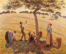 Apple picking at Eragny-sur-Erpe paint by the French artist Camille Pissarro (1830-1903) - Dallas Museum of Art (USA). 1888, Oil on Canvas. Pissarro employed beautiful combinations of light and color to convey a sense of the utopia that he believed could be achieved in an anarchist society. His paintings Apple-Picking and Apple-Harvest, which depict workers in Pissarro's future anarchistic utopia, feature a bright hue created by thousands of carefully placed dots of colorful paint. The sun radiates across the rural landscape, and the workers appear happy and peaceful as they harvest apples from the trees.