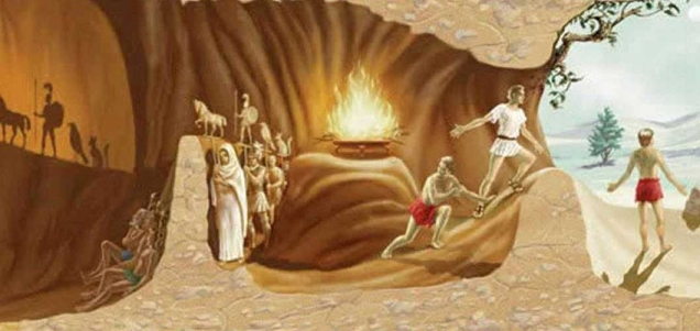 Plato, THE ALLEGORY OF THE CAVE Politeia, VII 514 a, 2 to 517 a, 7. SOCRATES: Imagine this: People live under the earth in a cavelike dwelling. Stretching a long way up toward the daylight is its entrance, toward which the entire cave is gathered. The people have been in this dwelling since childhood, shackled by the legs and neck..Thus they stay in the same place so that there is only one thing for them to look that: whatever they encounter in front of their faces. But because they are shackled, they are unable to turn their heads around. SOCRATES : Some light, of course, is allowed them, namely from a fire that casts its glow toward them from behind them, being above and at some distance. Between the fire and those who are shackled [i.e., behind their backs] there runs a walkway at a certain height. Imagine that a low wall has been built the length of the walkway, like the low curtain that puppeteers put up, over which they show their puppets. SOCRATES: So now imagine that all along this low wall people are carrying all sorts of things that reach up higher than the wall: statues and other carvings made of stone or wood and many other artifacts that people have made. As you would expect, some are talking to each other [as they walk along] and some are silent. GLAUCON : This is an unusual picture that you are presenting here, and these are unusual prisoners. SOCRATES : They are very much like us humans, I [Socrates] responded. SOCRATES : What do you think? From the beginning people like this have never managed, whether on their own or with the help by others, to see anything besides the shadows that are [continually] projected on the wall opposite them by the glow of the fire. GLAUCON : How could it be otherwise, since they are forced to keep their heads immobile for their entire lives? SOCRATES: And what do they see of the things that are being carried along [behind them]? Do they not see simply these [namely the shadows]? GLAUCON: Certainly. SOCRATES : Now if they