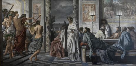 Plato´s Symposium - Anselm Feuerbach - Staatliche Kunsthalle Karlsruhe, w598 cm x h295 cm. Oil on canvas. In 'Das Gastmahl des Platon' (1869) Anselm Feuerbach depicts the scene in Plato's Symposium in which a drunken Alcibiades, accompanied by a band of revelers, enters the house of the poet Agathon. In this paper I offer an account of the significance of 'Das Gastmahl' in the light of three aims we have reason to attribute to its creator: (1) to recreate a famous scene from ancient Greek literature, making extensive use of (then) recent results of archaeological research; (2) to convey a sense of the nobility of the ancient Greeks; and (3) to offer a visual contrast of reason with desire. I also argue that as he set out to accomplish these objectives Feuerbach displayed considerable indifference to the contents of Plato's dialogue. Thus what 'Das Gastmahl' offers us is less 'Plato's symposium' and more 'Feuerbach's symposium', a visually striking but in some respects unfaithful representation of the Platonic original. (http://philosophy.unc.edu/files/2013/10/New-Feuerbach.pdf)