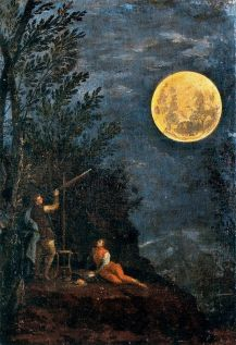Donato Creti, Observations astronomiques : la Lune 1711. The series of Astronomical observations was commissioned in 1711 by the Bolognese count Luigi Marsili. He had the artist Donato Creti paint all the planets in as many small pictures and made a gift of these to the Pope to convince him of the importance for the Holy Church of an astronomical observatory. The gift made it possible to achieve his goal, because with the support of Clement XI (pontiff from 1700 to 1721) the first public astronomical observatory was opened in Bologna a short time later. The eight small canvases show the planetary system as it was then known: the Sun , the Moon , Mercury , Venus , Mars , Jupiter , Saturn and a Comet . The planet Uranus, only discovered in 1781, is missing. The presence of the planets is dominant in the composition. They are depicted as observed with telescopes and various optical instruments (for which the artist had precise instructions) by small human figures in eighteenth century clothes, reabsorbed into the vastness of the nocturnal scene.