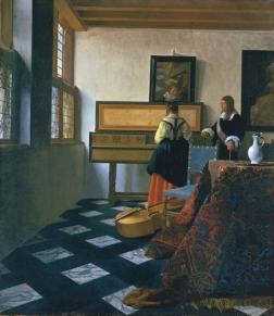 Johannes Vermeer (Delft 1632-Delft 1675). Lady at the Virginals with a Gentleman early 1660s. A Lady at the Virginal with a Gentleman entered the Royal Collection in 1762 as a work by Frans van Mieris the Elder owing to a misreading of the signature. Indeed, the name of the artist was not correctly identified until 1866 by Théophile Thoré. During the late seventeenth century the picture had been in collections in Delft, Vermeer's home town, including that eventually sold on 16 May 1696 by Jacob Dissous which had twenty-one paintings by the artist - the largest group of such works assembled by a single individual. A lady at the virginal was subsequently acquired by the Venetian artist, Giovanni Antonio Pellegrini, in 1718 either in Amsterdam or The Hague. Pellegrini's collection was bought by Consul Joseph Smith, who in turn sold his own collection to George III. By such a route did one of the greatest Dutch pictures in the Royal Collection arrive and to a certain extent the initial oversight regarding its importance has been more than adequately compensated for by the amount of scholarly attention that it now receives. Paintings by Vermeer - of which there are only thirty-four - are difficult to date and any chronology has to be based on an interpretation of style and complexity of composition. A lady at the virginal was undoubtedly painted during the 1660s, but it is not possible to be more specific although there is at present a consensus of c.1662-4. The composition is characterised by the rigorous use of perspective to draw the eye towards the back of the room where the figures are situated - the young woman rather surprisingly seen from the back. The viewer is at first more aware of the jutting corner of the table, the chair and the bass viol than of the figures themselves, whose privacy is thereby protected. The back of the room, dominated by the virginal comparable with those made by Andreas Ruckers the Elder, is like a grid of verticals and horizontals into which the figures are carefully locked. Light is admitted through the windows on the left and fills the room, casting only soft, subtle shadows. A striking feature of the composition in this part is the mirror on the wall where the slightly blurred reflections include the young woman's face, part of the table and the legs of an artist's easel. The implication of this glimpsed easel is that Vermeer shares the same space as the figures he is depicting, but as a result of this artifice he is also, like the viewer, standing outside that space. In fact, as Alpers has observed, Vermeer's composition is based on exclusion. Many of the elements, particularly at the back of the room, are seen only partially, as though indicating 'the appearance of the world as ungraspable'.