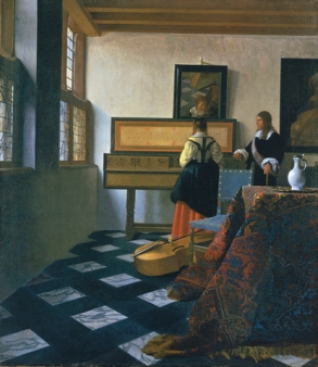 Johannes Vermeer (Delft 1632-Delft 1675). Lady at the Virginals with a Gentleman early 1660s. A Lady at the Virginal with a Gentleman entered the Royal Collection in 1762 as a work by Frans van Mieris the Elder owing to a misreading of the signature. Indeed, the name of the artist was not correctly identified until 1866 by Théophile Thoré. During the late seventeenth century the picture had been in collections in Delft, Vermeer's home town, including that eventually sold on 16 May 1696 by Jacob Dissous which had twenty-one paintings by the artist - the largest group of such works assembled by a single individual. A lady at the virginal was subsequently acquired by the Venetian artist, Giovanni Antonio Pellegrini, in 1718 either in Amsterdam or The Hague. Pellegrini's collection was bought by Consul Joseph Smith, who in turn sold his own collection to George III. By such a route did one of the greatest Dutch pictures in the Royal Collection arrive and to a certain extent the initial oversight regarding its importance has been more than adequately compensated for by the amount of scholarly attention that it now receives. Paintings by Vermeer - of which there are only thirty-four - are difficult to date and any chronology has to be based on an interpretation of style and complexity of composition. A lady at the virginal was undoubtedly painted during the 1660s, but it is not possible to be more specific although there is at present a consensus of c.1662-4. The composition is characterised by the rigorous use of perspective to draw the eye towards the back of the room where the figures are situated - the young woman rather surprisingly seen from the back. The viewer is at first more aware of the jutting corner of the table, the chair and the bass viol than of the figures themselves, whose privacy is thereby protected. The back of the room, dominated by the virginal comparable with those made by Andreas Ruckers the Elder, is like a grid of verticals and horizontals into 