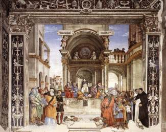 Triumph of St Thomas Aquinas over the Heretics 1489-91. Santa Maria sopra Minerva (Cappella Carafa) - Rome. Filippino Lippi (April 1459 – April 1504) was an Italian painter working during the High Renaissance in Florence, Italy. This fresco by Filippino Lippi and his assistant Raffaellino del Garbo, is part of the decoration of the Carafa Chapel of the Santa Maria sopra Minerva in Rome. The central scene of Aquinas confounding the heretics is inspired by the fourth book of Aquinas, the Summa contra Gentiles. Within an elaborate architectural stage is a central building with pilasters ornamented with torches, that was copied from an antique funerary monument. In the background are views of the Lateran and the Tiber. This may allude to Carafa's war against the Ottoman Turks, for he had departed from the Tiber to fight the Turks and when he returned to Rome, in January 1473, it was by Porta San Govanni. In the fresco, Aquinas is surrounded by four female figures, representing Philosophy, Astronomy, Theology, and Grammar. At the sides, in the foreground, are the defeated heretics, among which can be identified Arius, Apollinarius, and Averroes (on the left) and Sabellius, Euchites, and Manes (on the right), with the books thrown down on the ground before them. The overall architecture is enlivened by elaborated grotesques and putti bearing inscriptions, as well as by a number of references to Carafa.