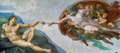The Creation of Adam (1508-1512) on the ceiling of the Sistine Chapel.Michelangelo di Lodovico Buonarroti Simoni ( 6 March 1475 – 18 February 1564). Of all the marvelous images that crowd the immense complex of the Sistine Ceiling, The Creation of Adam is undoubtedly the one which has most deeply impressed posterity. No wonder, for here we are given a single overwhelming vision of the sublimity of God and the potential nobility of man unprecedented and unrivaled in the entire history of visual art. No longer standing upon earth with closed eyes and mantle, the Lord floats through the heavens, His mantle widespread and bursting with angelic forms, and His calm gaze accompanying and reinforcing the movement of His mighty arm. He extends His forefinger, about to touch that of Adam, who reclines on the barren coast of earth, barely able as yet to lift his hand. The divine form is convex, explosive, paternal; the human concave, receptive, and conspicuously impotent. The incipient, infecundating contact about to take place between the two index fingers has often been described as a spark or a current, a modern electrical metaphor doubtless foreign to the sixteenth century, but natural enough considering the river of life which seems about to flow into the waiting body. Genesis tells how the Lord created Adam from the dust of the earth and breathed into his nostrils the breath of life. This story is never illustrated literally in Renaissance art. Usually, as in Jacopo della Quercia's beautiful relief on the facade of the church of San Petronio in Bologna, which must have impressed the young Michelangelo deeply, the Creator stands on earth and blesses the already formed body of Adam, read together with the ground, since his name in Hebrew means earth. Michelangelo's completely new image seems to symbolize a still further idea - the instillation of divine power in humanity, which took place at the Incarnation. Given Cardinal Vigerio's reiterated insistence on the doctrine of