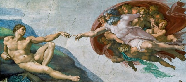 "The Creation of Adam (1508-1512) on the ceiling of the Sistine Chapel.Michelangelo di Lodovico Buonarroti Simoni ( 6 March 1475 – 18 February 1564). Of all the marvelous images that crowd the immense complex of the Sistine Ceiling, The Creation of Adam is undoubtedly the one which has most deeply impressed posterity. No wonder, for here we are given a single overwhelming vision of the sublimity of God and the potential nobility of man unprecedented and unrivaled in the entire history of visual art. No longer standing upon earth with closed eyes and mantle, the Lord floats through the heavens, His mantle widespread and bursting with angelic forms, and His calm gaze accompanying and reinforcing the movement of His mighty arm. He extends His forefinger, about to touch that of Adam, who reclines on the barren coast of earth, barely able as yet to lift his hand. The divine form is convex, explosive, paternal; the human concave, receptive, and conspicuously impotent. The incipient, infecundating contact about to take place between the two index fingers has often been described as a spark or a current, a modern electrical metaphor doubtless foreign to the sixteenth century, but natural enough considering the river of life which seems about to flow into the waiting body. Genesis tells how the Lord created Adam from the dust of the earth and breathed into his nostrils the breath of life. This story is never illustrated literally in Renaissance art. Usually, as in Jacopo della Quercia's beautiful relief on the facade of the church of San Petronio in Bologna, which must have impressed the young Michelangelo deeply, the Creator stands on earth and blesses the already formed body of Adam, read together with the ground, since his name in Hebrew means earth. Michelangelo's completely new image seems to symbolize a still further idea - the instillation of divine power in humanity, which took place at the Incarnation. Given Cardinal Vigerio's reiterated insistence on the doctrine of the two Adams, and the position of the scene immediately after the barrier to the sanctuary, at the spot where the Annunciation customarily appeared, and after Ezekiel with his vision of the Virgin Birth, this would seem natural enough. The scene recalls the famous verses from Isaiah, ""Who hath believed our report ? and to whom is the arm of the Lord revealed ? For he shall grow up before him as a tender plant, and as a root out of a dry ground . ..,"" invariably taken by theologians to foretell the Incarnation of Christ, shoot of Jesse's rod. Two striking visual elements make clear that this was one of the passages actually recommended to Michelangelo by his probable adviser, Cardinal Vigerio. First, the mighty right arm of the Lord is revealed, naked as in no other of His appearances on the Sistine Ceiling, nor anywhere else, as far as I have been able to determine, in all of Christian art prior to this time. (The left arm is clothed, at least to the elbow, by a white sleeve.) Second, directly under Adam, the arm of the veiled youth to the left above the Persian Sibyl projects into the scene - a matter that involved considerable advance planning - coming as close to touching Adam's thigh as the Creator does his finger. This hand holds a cornucopia bursting with Rovere leaves and acorns, appearing to grow from the dry ground, as full of potency as Adam (""ground"") is empty of it. Such an image is characteristic not only of Michelangelo, who insofar as possible preferred to show male figures, including that of Christ, completely naked, but of the Roman High Renaissance and of Julius II himself, whose language as recorded by his astonished contemporaries overflows with boasts of his own physical strength and potency."